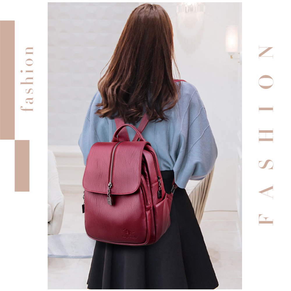 Women Leather Backpack Sac A Dos Ladies Bagpack School Bag Bckpack For Teenage Girls Travel Back Pack Mochila Feminina