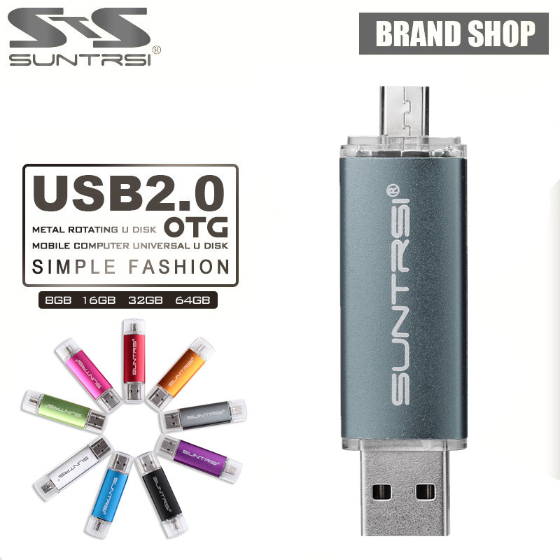Suntrsi USB Flash Drive 64GB OTG Pen Drive High Speed Pendrive For Phone Computer USB Stick Flash Drive Customized Logo Printing