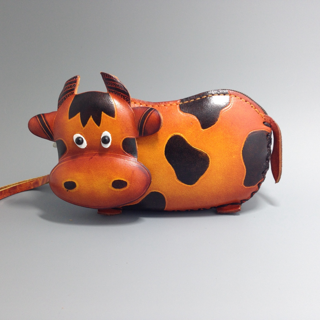 cartoon animal cow genuine leather coin purse handmade cute genuine leather wallet mini cowhide bag