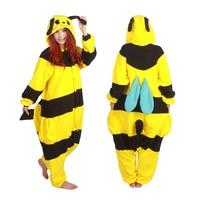 Anime Animal Honeybee Homewear Pajamas Cosplay Jumpsuits Costume Unisex Adult Ywllow Black Bee Halloween Onesie Sleepwear