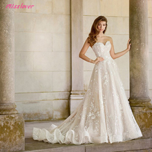 Vestido De Noiva Silky Organza Luxury lace bridal gown 2019 new Sexy strapless Backless Bride wedding dress Robe de mariee