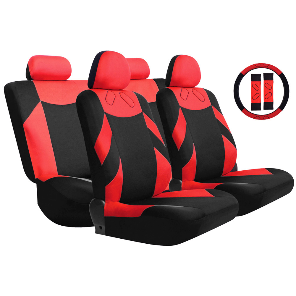 Red/Blue/Gray/Beige 13PCS Car Seat Cover Front Seat Bench Seat Covers Wheel Cover Set for VW Frod BMW Toyota for Cars