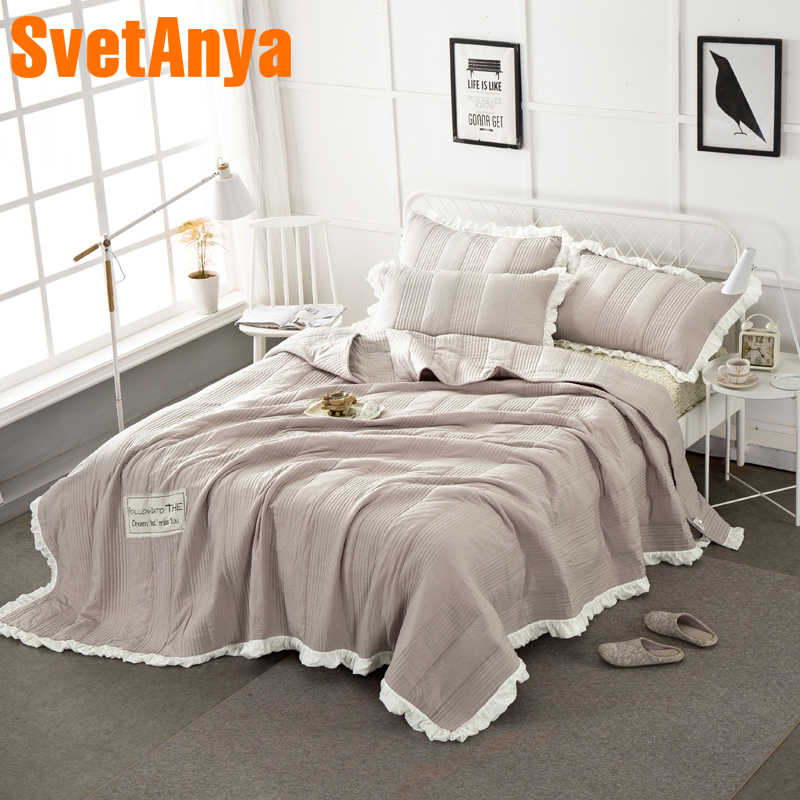 Nordic Light Coffee Quilting Summer Quilt Washed Polyester Border Bedspread Set 3Pc Blankets 250x250cm Stitching Bed Covers