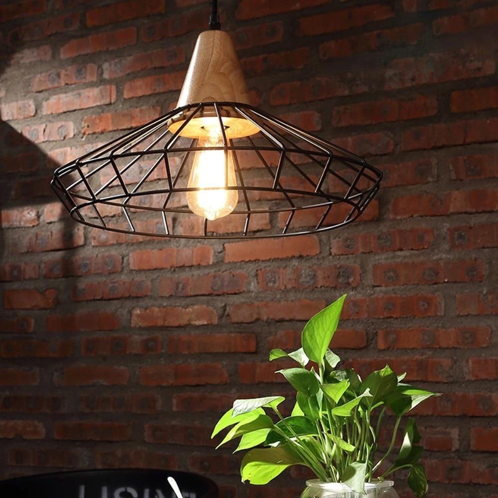 Retro Nordic Industrial Country  Loft Lamp Iron&Wood Pendant Light Art Loft Drop Lamp For Bar/Cafe/Study/Warehouse lustre