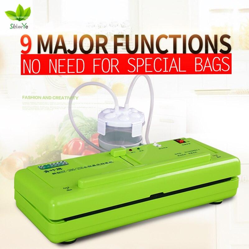 Sellador de vacío ShineYe embalaje máquina de alimentos para el hogar sellador de película envasador al vacío incluyendo unids 10 bolsas gratis DZ-280/2SE