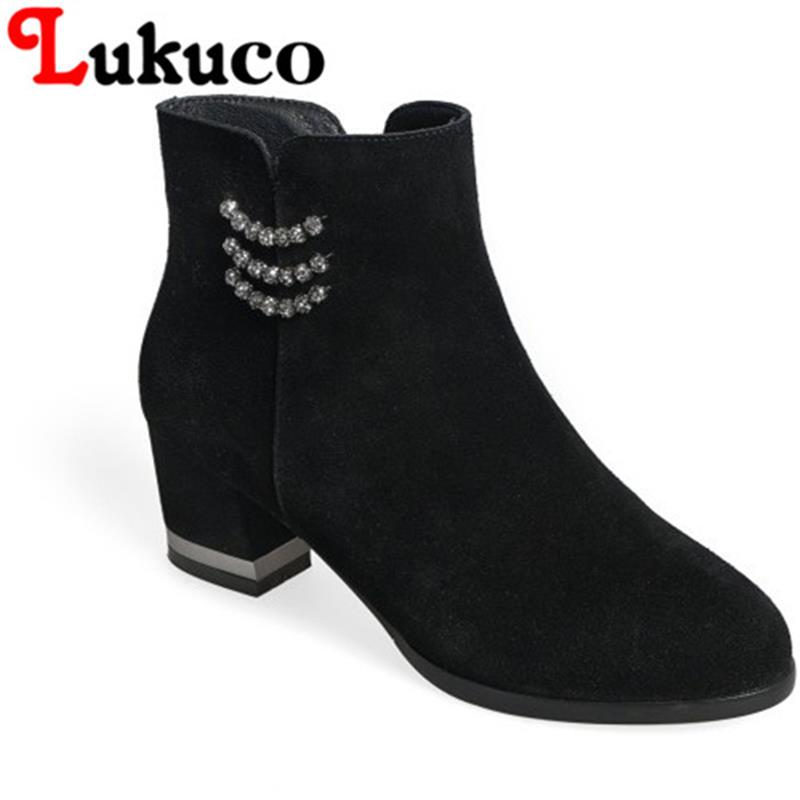 FASHION 2017 Lukuco women ankle boots pure color round toe String Bead design high quality genuine leather shoes free shipping