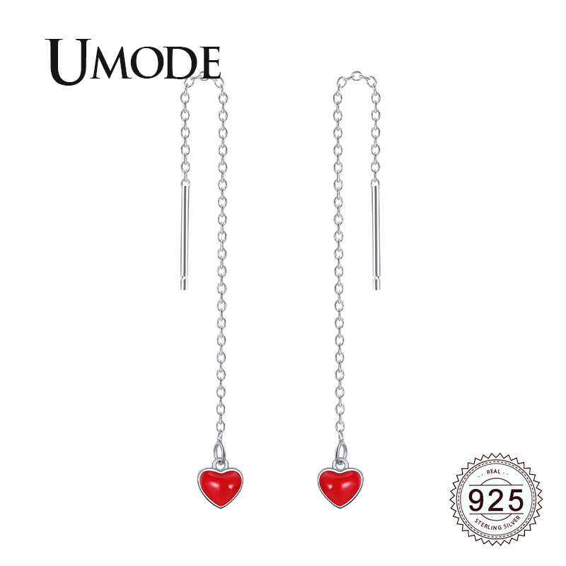 UMODE Women Red Heart 925 Sterling Silver Long Chain Drop Earrings Jewelry Dangling Earrings for Women Fashion 2019 LE0626