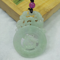 yu xin yuan Fine Jewelry Natural Emerald handmake carved Necklace Lucky women and men Jade Pendant