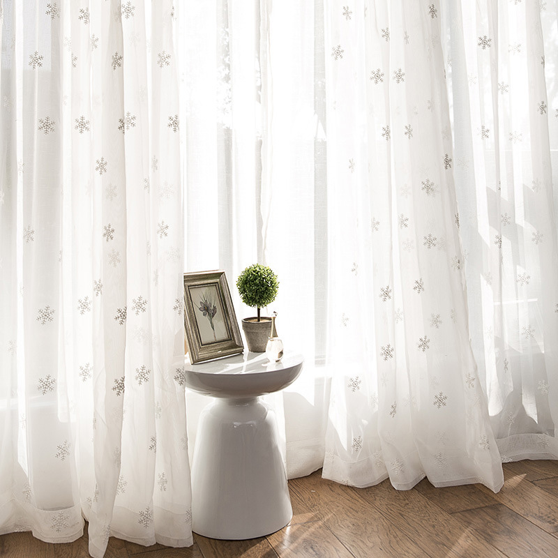 Embroidery Curtains Tulle Window-Drapes Sheer-Fabric Christmas-Snowflake Bedroom Living-Room