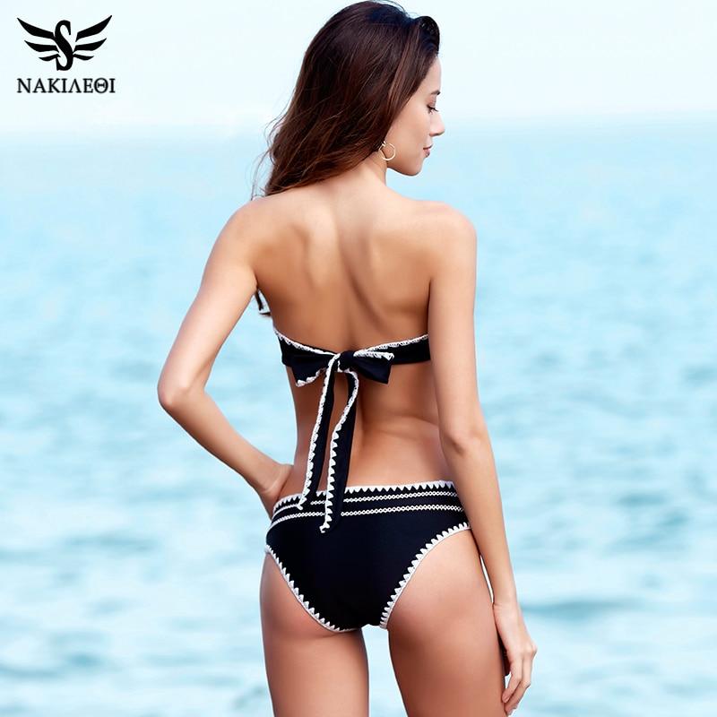 NAKIAEOI 2018 New Sexy Bikinis Women Swimsuit Crochet Brazilian Bikini Set Bandeau Biquini Push Up Swimwear Female Swim Suits  1