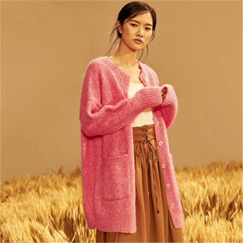 100% hand made wool thick Oneck knit women fashion loose single breasted lantern sleeve cardigan long sweater one&over size