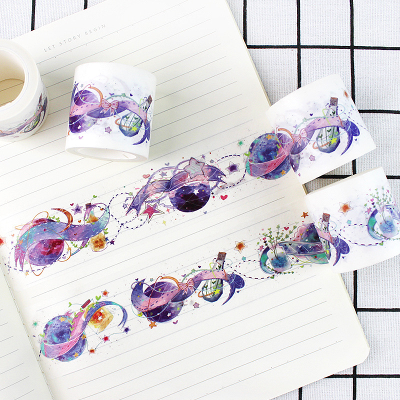 Creative Universe And Sky Theme The Dreaming World Washi Tape 45mm*5M DIY Journal Diary Decoration Supplies 1 Piece the lovely colorful world and flamingo fashion diy a5 journal pu leather 216p 2017 students office supplies free shipping