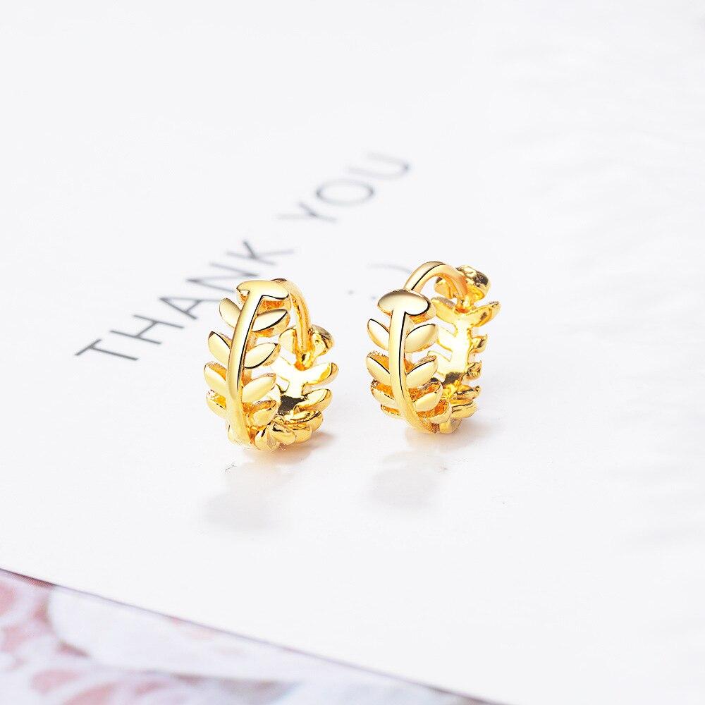 Classic Gold Hoop Earring 925 Sterling Silver Leaf Design Earrings