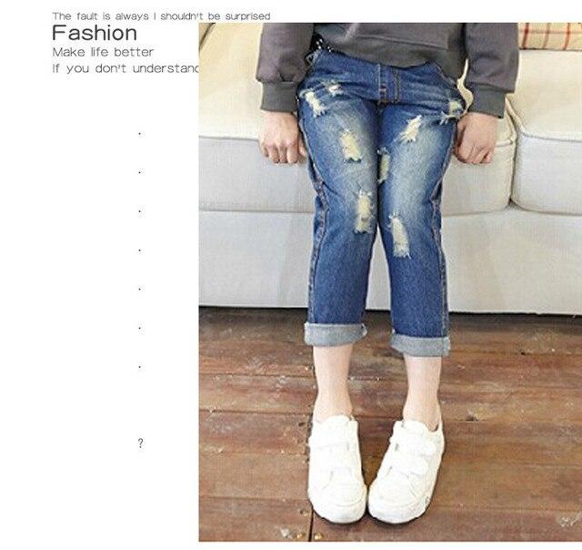 Тощий 2016 весенние мода новый ребенок отверстие брюки дети джинсы дети бренд свободного покроя джинсы брюки для девочек зимой и середине талии