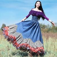 Весна, лето, осень Для женщин Винтаж суд Стиль Тонкий оборками универсальные Цветочный принт шифон джинсовые длинные юбка макси