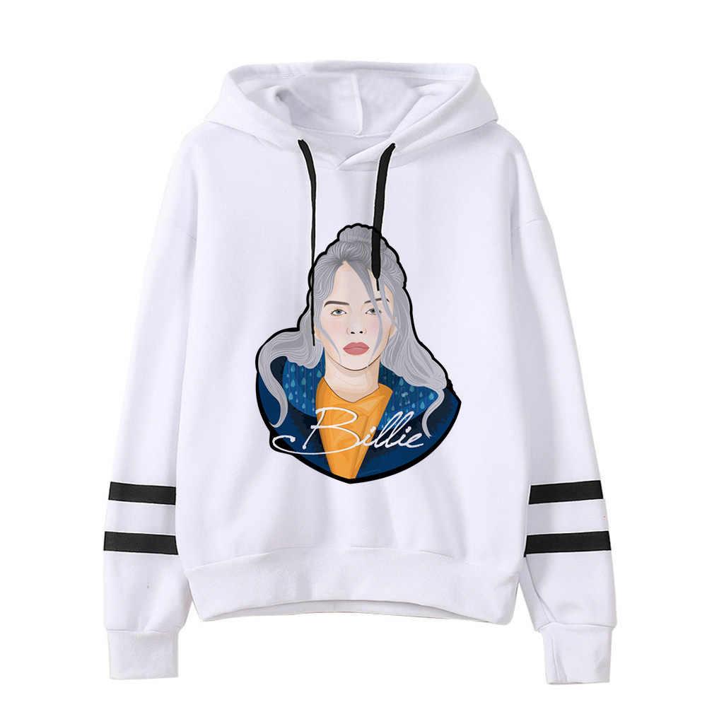 2019 wiosna Billie Eilish bluza z kapturem druku z kapturem kobiety mężczyźni bluza ubrania Harajuku Casual gorąca sprzedaż bluzy z kapturem Kpop bluzy