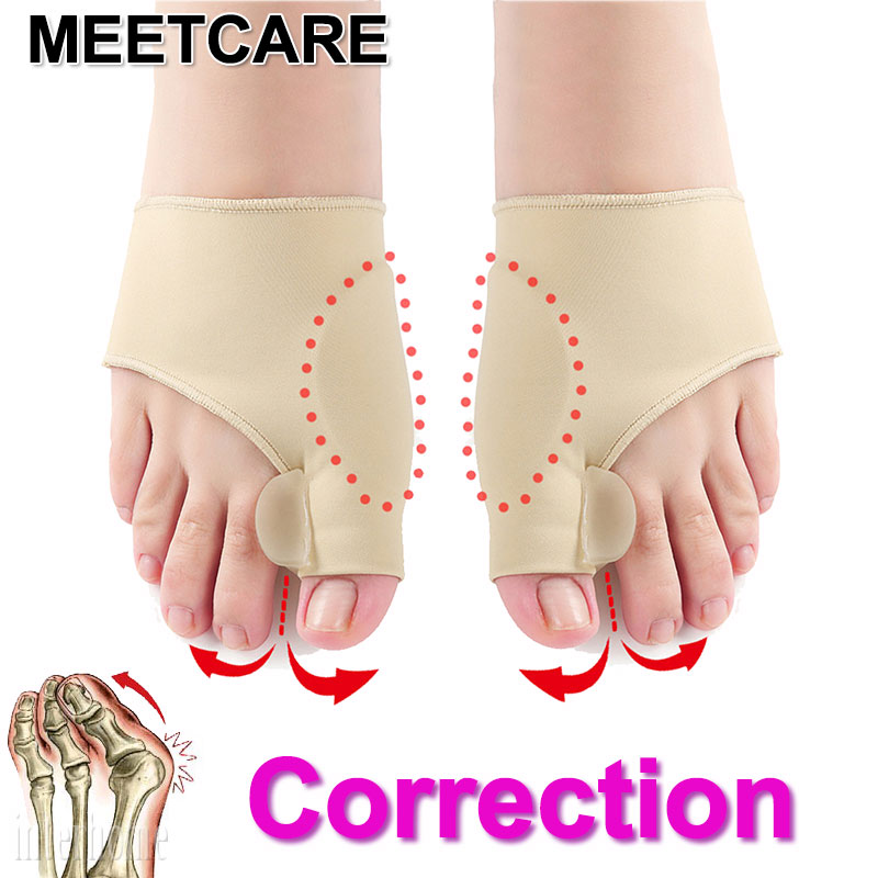MEETCARE 1 Pair The Newest Silicone Hallux Valgus Braces Big Blackmailed Orthopedic Correction Socks Toes Separator Feet Care
