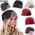 A375 2016 Мода Цветочные Зимние Шапки Береты для Шапочка Женщины Cloche Ведро Hat Женский Skullies Hat
