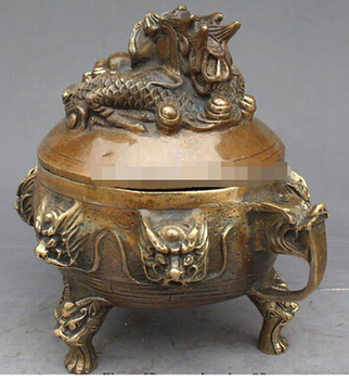 "Copper Crafts Brass decoration Fine Brass  7"" Chinese Bronze Zodiac 9 Dragon Beast Incense Burner Censer Statue"