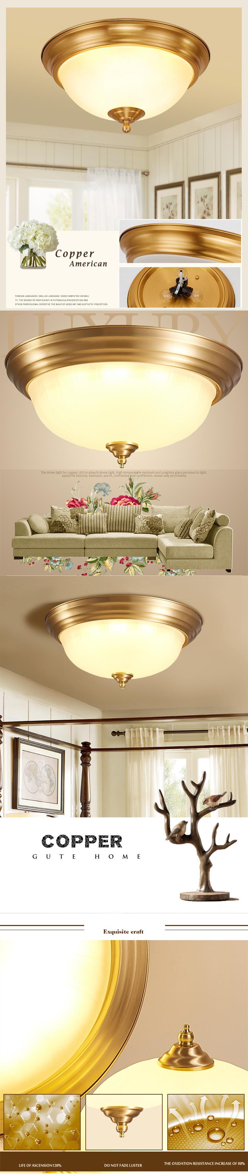 Traditional Copper Luxury Ceiling Lamp European Living Room Bedroom ...