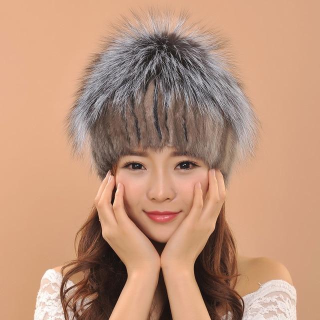 Роскошные Качество Норки меховые шапки женская мода Вязаные шапки зима теплая девушка головные уборы Украшения лиса волосяная луковица