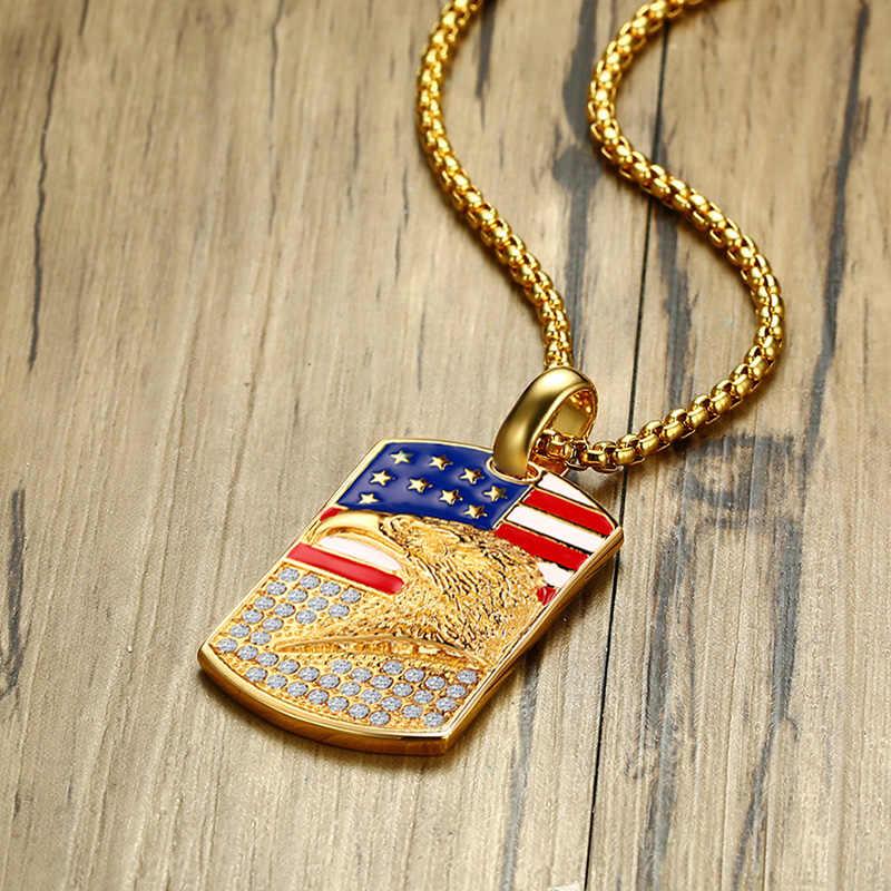 COLLAR COLGANTE de pedrería con Etiqueta de perro en 3D bandera del águila estadounidense de acero inoxidable pulido dorado para hombre