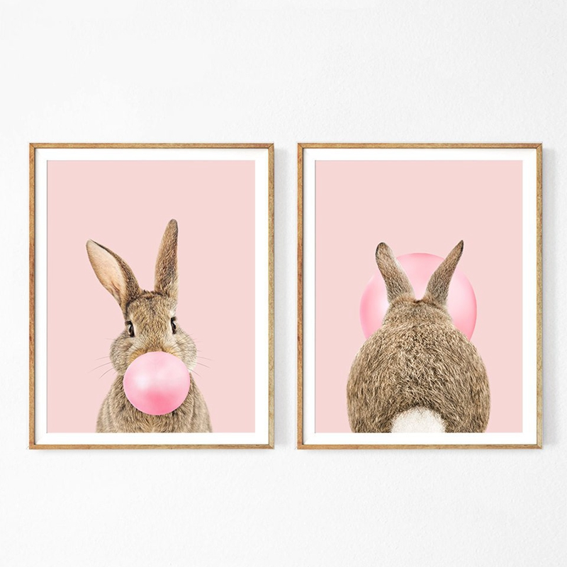 Rabbit Bubble Gum Art Poster Prints Blue Pink Nursery Wall Art Canvas Paintings Wall Picture Baby Animals Bunny Nursery Decor