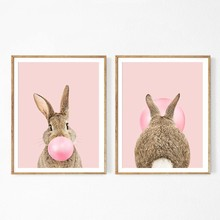 Rabbit Bubble Gum Art Poster Prints Blue Pink Nursery Wall Art Canvas Paintings Wall Picture Baby Animals Bunny Nursery Decor(China)