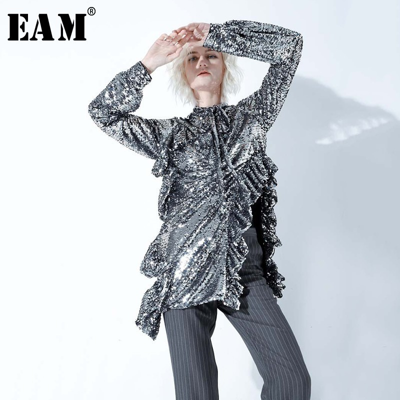 EAM 2019 New Spring Summer High Collar Long Sleeve Hem Irregular Sequins Split Joint Sexy