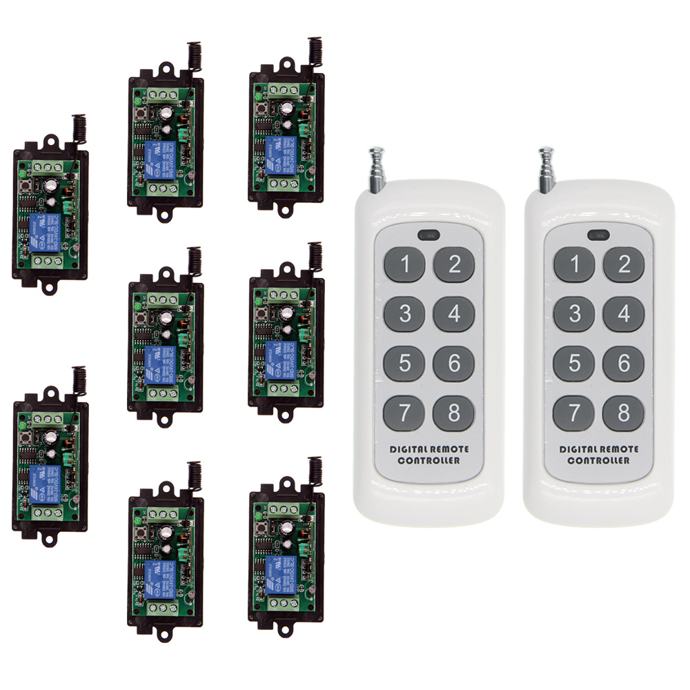 8CH 500m DC 9V 12V 24V 1 CH 1CH RF Wireless Remote Control Light Bulb Motor Pump Switch System,Receiver And Transmitter new 12v 1ch wireless remote control switch system 8ch transmitter
