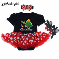 My 1st Christmas Tree Cotton Newborn Baby Rompers Short Sleeve 3pcs Infant Clothing Festival Newborn Roupa