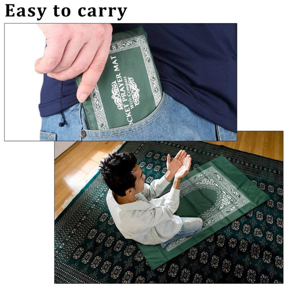 New Arrival 100x60cm Portable Prayer Rug With Compass Kneeling Poly Mat For Muslim Islam Waterproof Prayer Mat Carpet With Bag