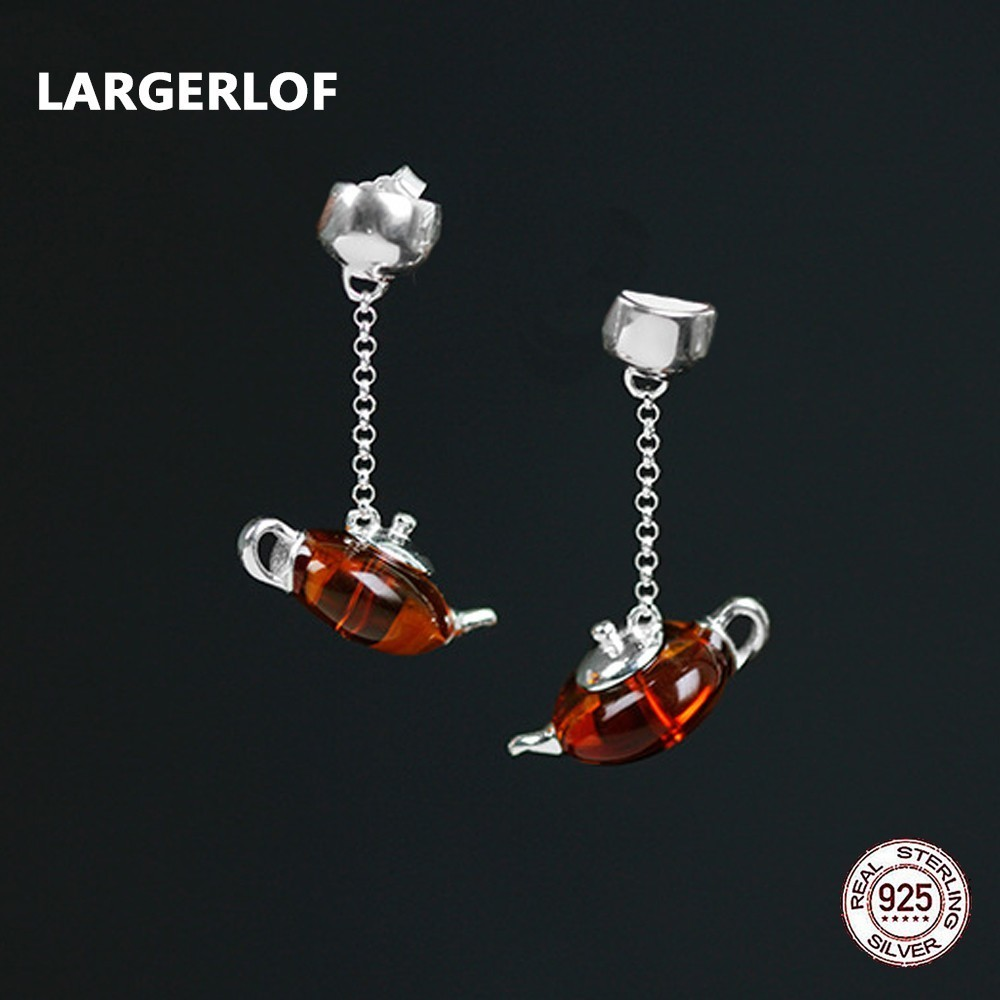 все цены на LARGERLOF Agate Earring 925 Sterling Silver Drop Earrings Female Handmade Fine Jewelry Minimalist Teapot Earrings ED49015 онлайн