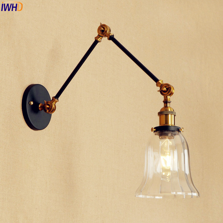 IWHD Loft Style Retro Wall Lights For Home Lighting Bedroom Edison Vintage Industrial Arm Wall Lamp Sconce Luminaire Lighting iwhd american style loft vintage pendant lights fixtures bar home lighting edison retro industrial lamp luminaire