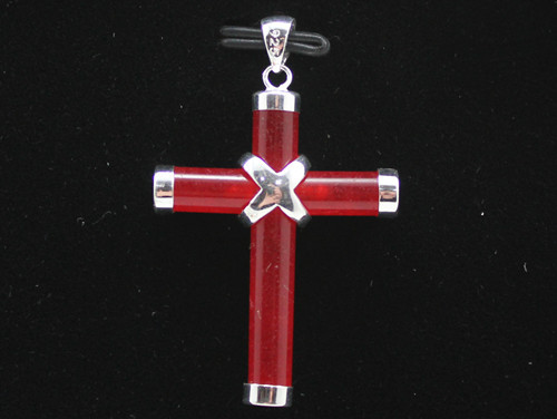 Free Shipping 925 sterling Western Style unsex red Cross Pendant Necklace
