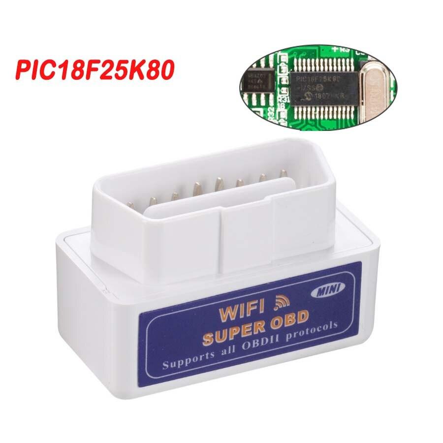 Good WIFI Super OBD ELM327 V1.5 PIC18F25K80 Car Diagnostic Scanner Works Smart Phone Android/iOS ELM 327 Wi-Fi Free ShippingGood WIFI Super OBD ELM327 V1.5 PIC18F25K80 Car Diagnostic Scanner Works Smart Phone Android/iOS ELM 327 Wi-Fi Free Shipping