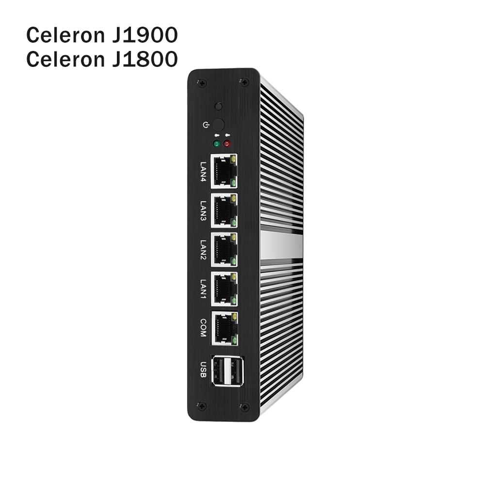 Fanless Mini PC Intel Celeron J1900 J1800 4x Gigabit Ethernet LAN pfsense Mini Computer Router Firewall