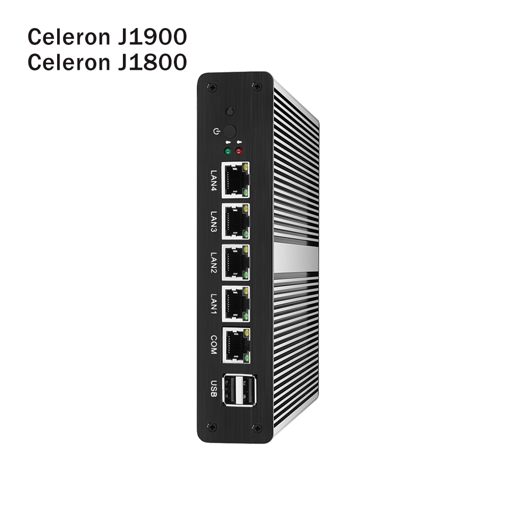 Fanless Mini PC Intel Celeron J1900 J1800 4x Gigabit Ethernet LAN Pfsense Mini Computer Router Firewall Minipc Industrial PC