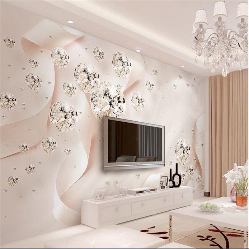 beibehang papel de parede para quarto Custom wallpaper Pink ribbon crystal ball 3d stereo jewelry TV wall papel de parede 3d beibehang custom wallpaper giant mural painting super aesthetical dream forest moonlight whole house wall murals papel de parede