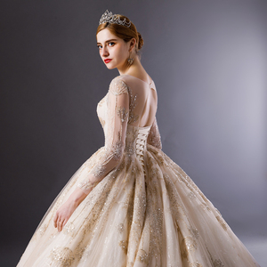 Image 5 - SL 6103 Gold Lace luxury long sleeves ball gown wedding dress bridal dresses wedding gowns royal train