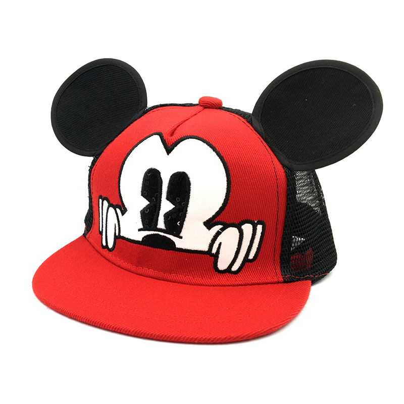 Hot Mickey ear hats children snapback Caps baseball Cap with ears Funny Hats spring summer Autumn hip hop boy hats Mesh caps
