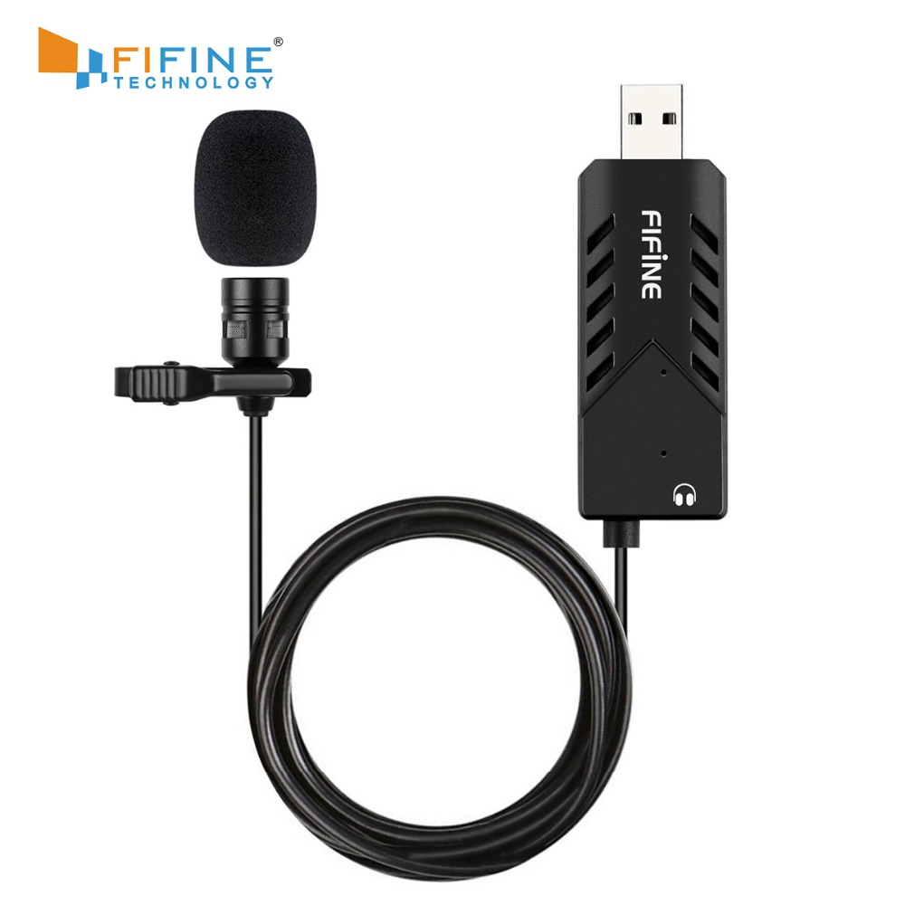 FIFINE Lavalier  Clip-on Cardioid Condenser Computer mic plug and play USB Microphone With Sound Card for PC and Mac -K053