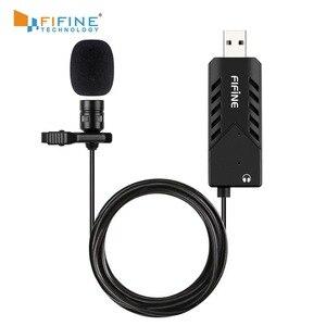 Image 1 - FIFINE Lavalier Clip on kardioidalny komputer pojemnościowy mikrofon plug and play mikrofon USB z kartą dźwiękową na PC i Mac  K053
