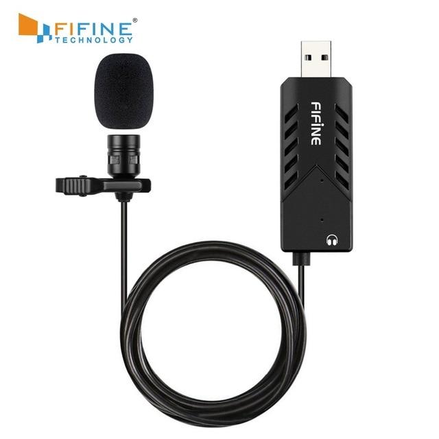 FIFINE Lavalier Clip on kardioidalny komputer pojemnościowy mikrofon plug and play mikrofon USB z kartą dźwiękową na PC i Mac  K053