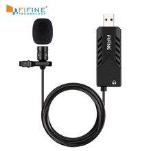 Fifine microfone condensador cardioid, microfone usb de conexão rápida, com placa de som, para pc e computador, lavalier mac k053