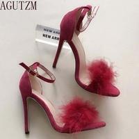 סנדלי סנדלי זמש משאבות עקבים טו להרחיב נשים סקסיות AGUTZM רצועת קרסול פרווה נעלי שמלת עקבים גבוהים נשים נעלי חתונה V23