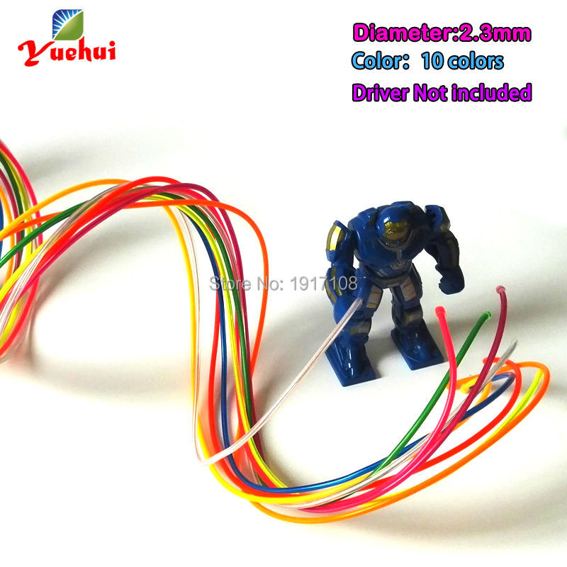 For Craft Party Decoration 10 Color Choice 2.3mm Waterproof EL Wire Rope Tube LED Thread Neon Light Not Include The Controller