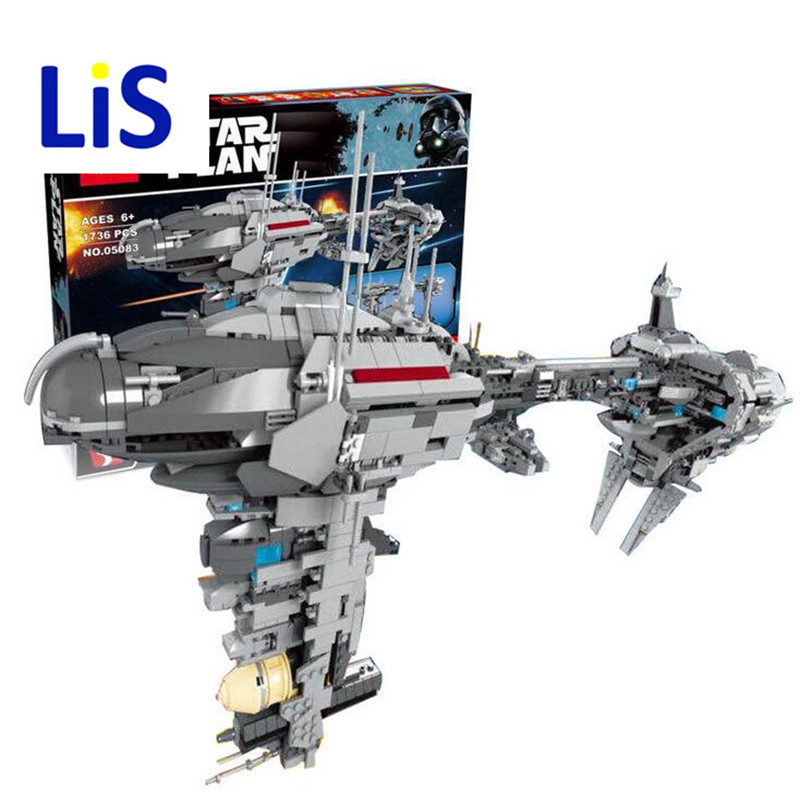 Lis 2017 New LEPIN 05083 Star Wars Series Dental warships 1736Pcs Educational Building Blocks Bricks Toys Model Gift lepin 22001 pirate ship imperial warships model building block briks toys gift 1717pcs compatible legoed 10210