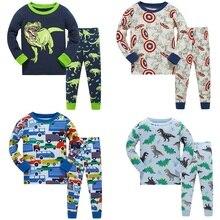 2018 children Autumn Pajamas clothing Set Boys Cartoon Dinosaur Sleepwear Suit Set kids long-sleeved+pant 2-piece baby clothes