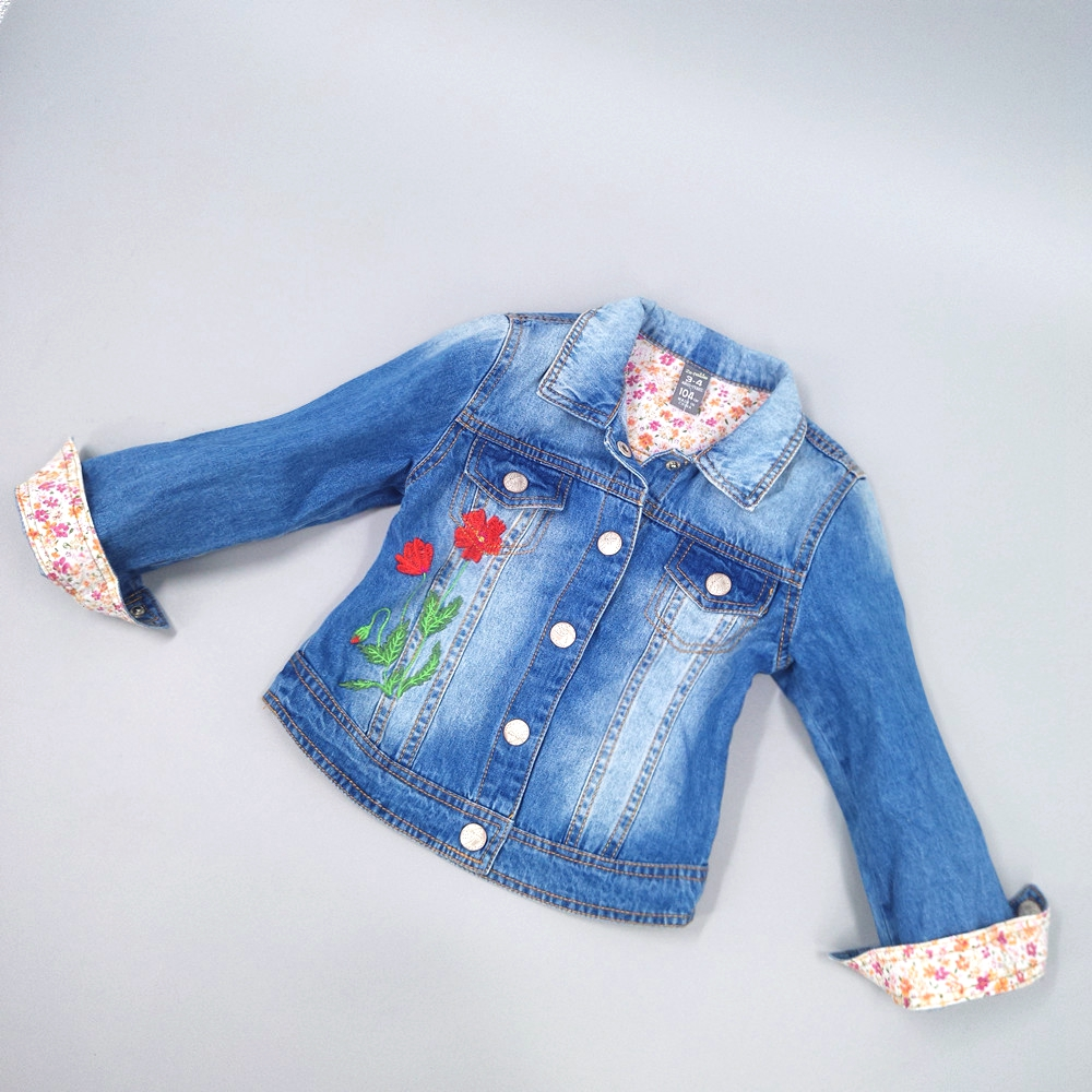 Chumhey 2-4T Girls Jeans Coat Girls Jeans Jacket Denim Outerwear Children's Clothing Spring Autumn Kids Outfits Toddler Clothes afs jeep autumn jeans mens straight denim trousers loose plus size 42 cowboy jeans male man clothing men casual botton